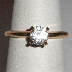 Jewelry - Gold 925 Sterling Simulated Diamond Solitaire Ring
